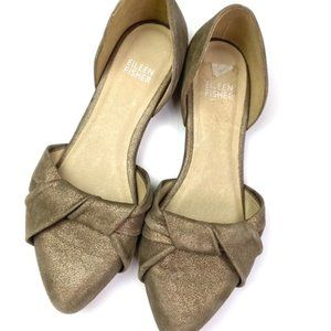 Eileen Fisher Suede D'orsay Flats Metallic Size 6